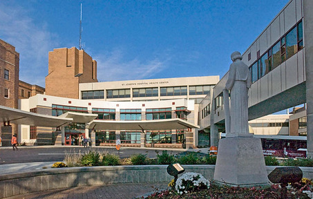 Exterior shot of St. Joseph's Hospital.